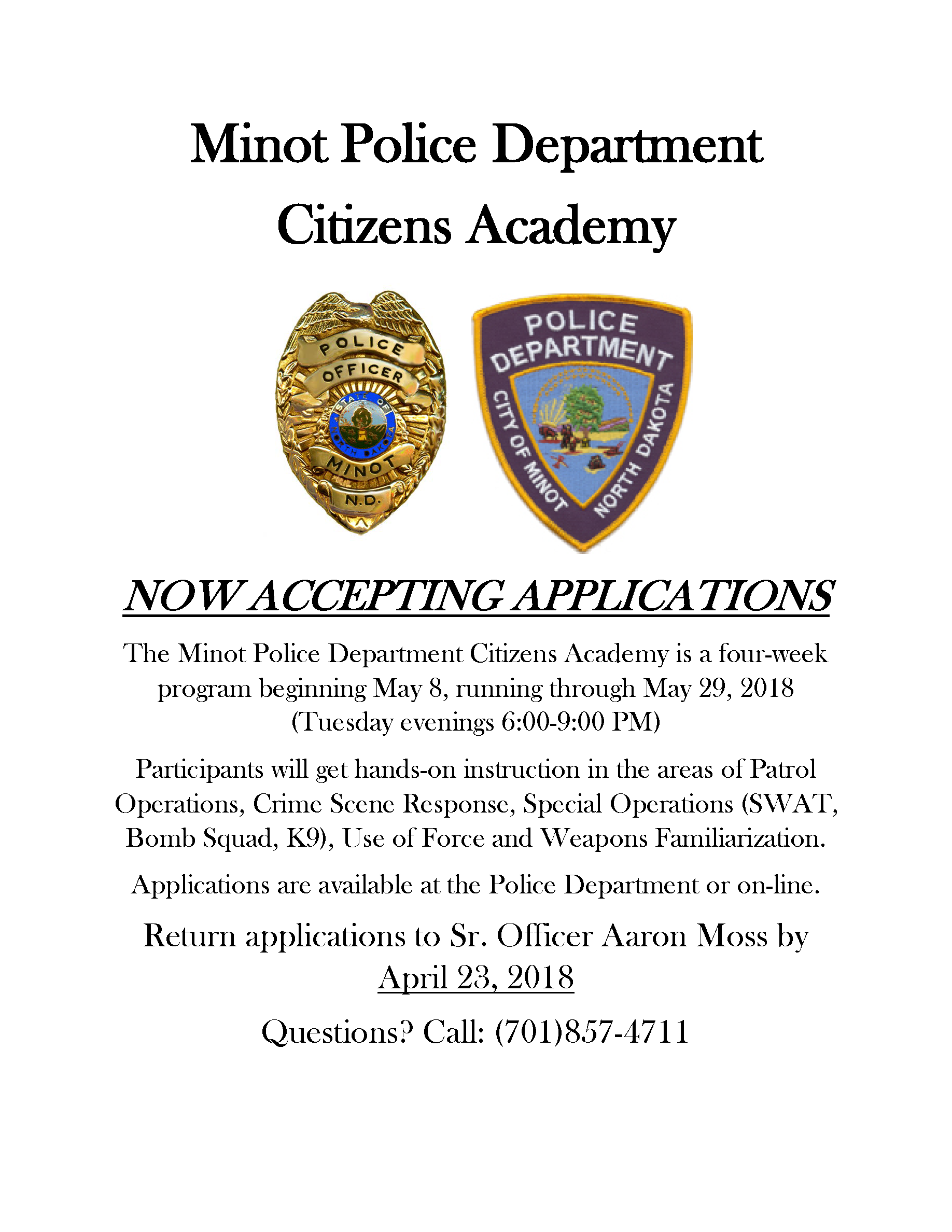 Citizens Police Academy flyer
