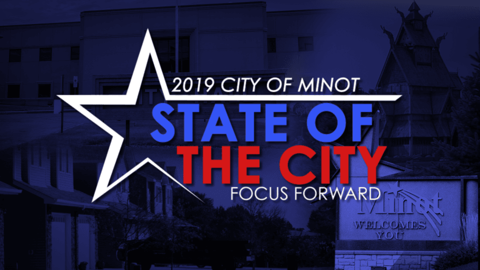 State of the City Logo - Focus Forward image a top a collage of Minot landmarks.