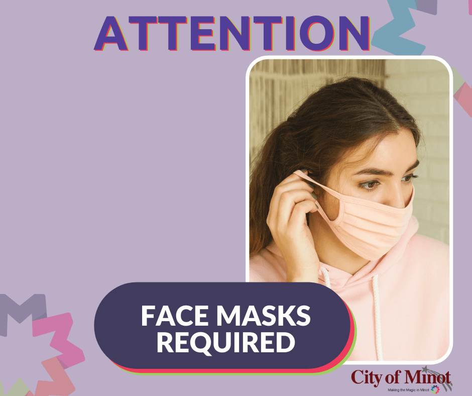 Masks Required - female wearing a mask with bold font