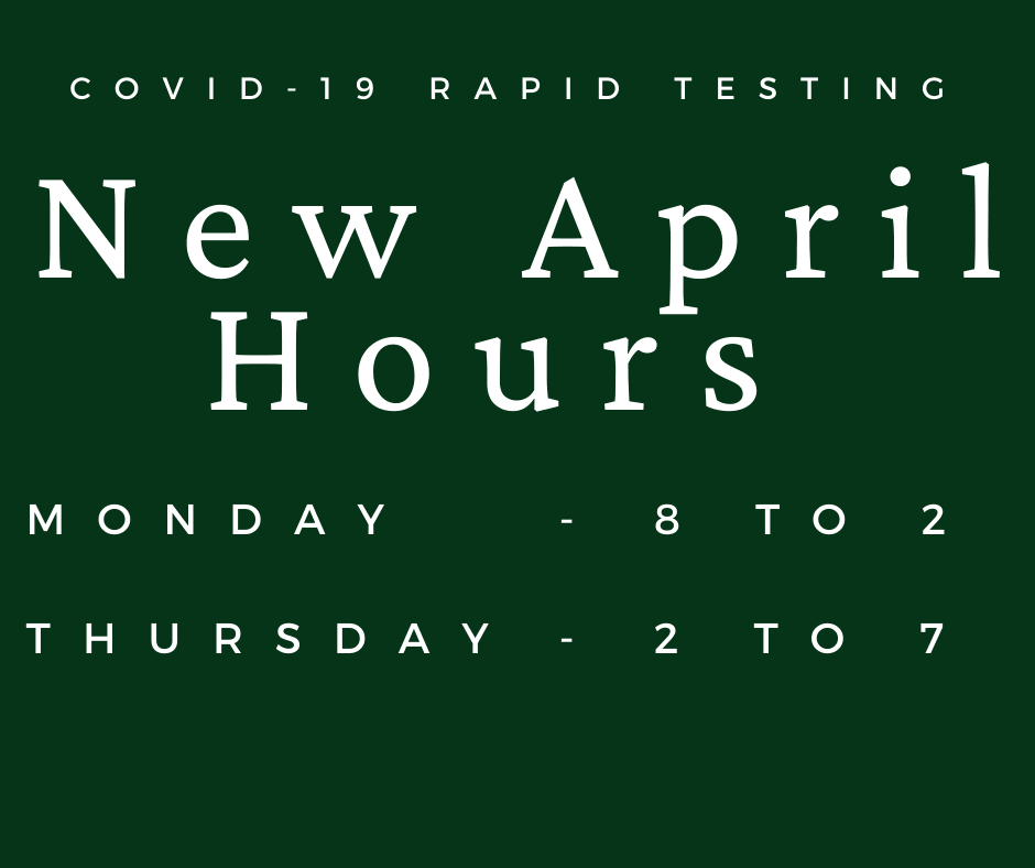 Green Graphic showing April hours. Monday 8-2 and thursday 2-7