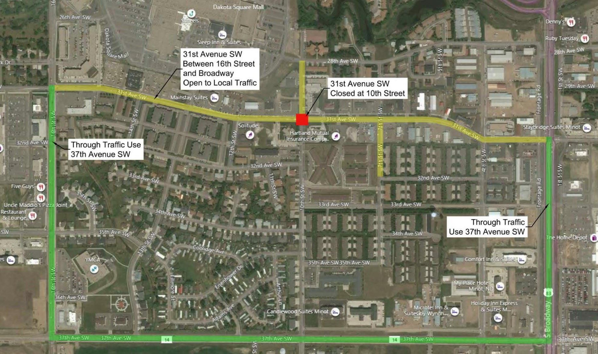 graphic of 10th St closure, detour to 37th Ave SW